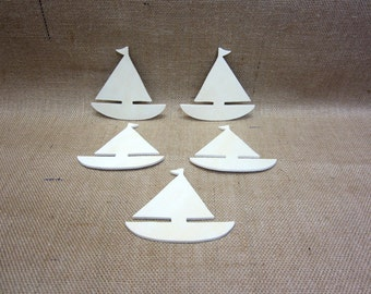 Sailboat Unfinished Wooden Cutout Lot Of 5 Nautical