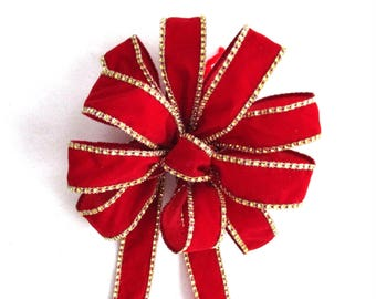 Red Velvet Bow, Christmas Bow, Cranberry Bow, Red Bow