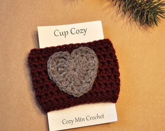 Coffee Cozy Sleeve, Heart, Cup Cozy, Reusable, Coffee Cozy, Coffee Cup Sleeve, Crocheted Cozy, Tea Cozy, Crochet, Drink Sleeve Cozy