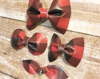Buffalo Plaid Bow, leather bow, holiday bow, buffalo plaid leather, plaid leather bow, christmas bow, baby bow, girl bow