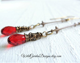 Delicate Red Crystal Teardrop Earrings Romantic French Vintage Inspired Long Fleur de Lis Earrings Garnet Ruby Red January Birthstone Gift