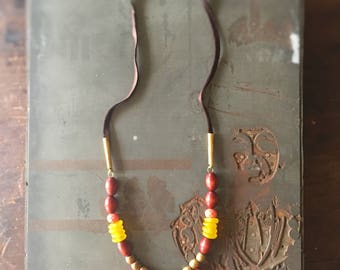 Tribal Tassels - Statement Necklace with Coral Tassels and Artisanal Beads - Sunrise