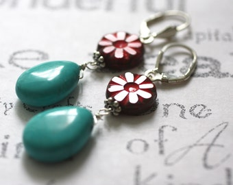 Red Glass Flower and Turquoise Earrings  Turquoise and Sterling Silver Artisan Jewelry  Red Flower and Turquoise Drop Earrings