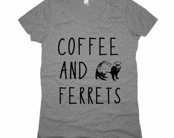 Coffee and Ferrets Ladies Junior fit t shirt tee screenprint