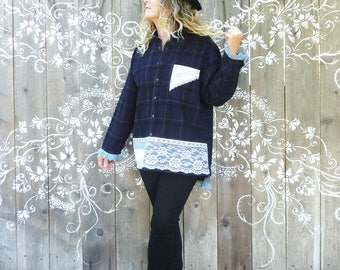Plus size corduroy shirt, navy plaid, XXL, 1X, 2X, oversize, Boho top, country chic, boyfriend shirt, vintage lace, FREE SHIPPING, upcycled