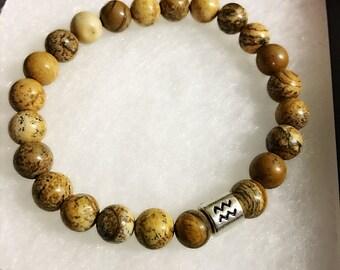 Aquarius Bracelet Jasper Gemstone Bead