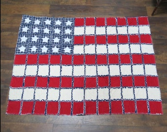 God Bless America Flag Rag Quilt Throw 50x60 Inches