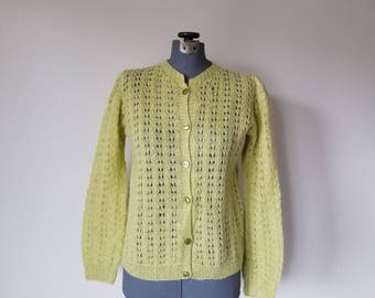 Vintage 1960's Chartreuse Wool Cardigan Sweater