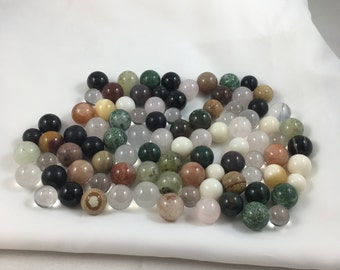 80 Genuine Gemstone Solid Spheres / Marbles  for Craft or Jewelry 12-16 mm Assorted   NEW