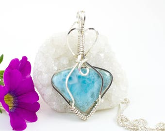 Larimar Necklace - Larimar Jewelry -  Wire Wrapped Pendant - Argentium Sterling Silver - Wire Wrapped Larimar -  Larimar Pendant
