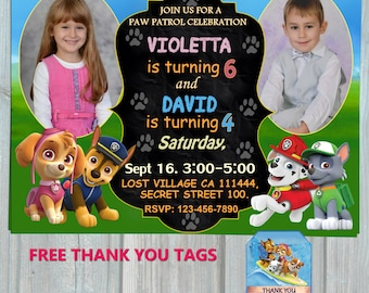 Paw Patrol Sibling Birthday Invitation, Double Party Invitation, Thank you tags