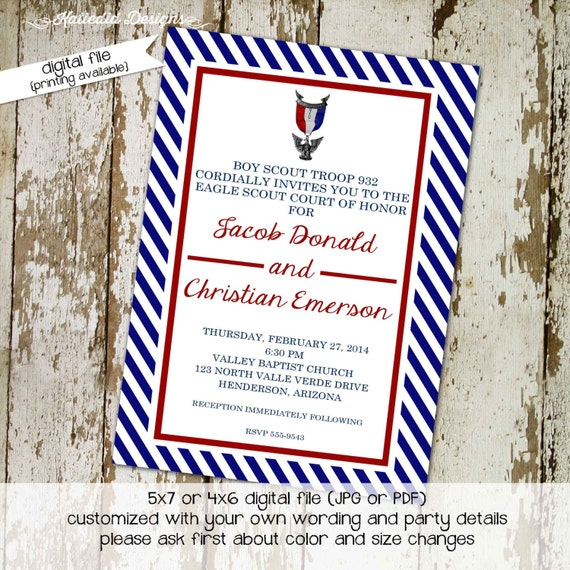 Eagle scout court of honor invitations LDS eagle scout Graduation announcements high school Boy teenager birthday Mormon | 602 Katiedid Card