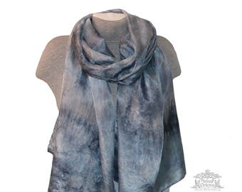 Gray Silk Scarf Hand Painted Shawl Hand-dyed Women Art Neck Silk Scarf Wrap Long Luxury Mother birthday gift  Plus Size Wabi Sabi