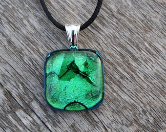 Fused Glass Jewelry, Green Necklace, Dichroic Glass, Pendant, Handmade, Unique Jewelry, Square, Glass Art - PN 160