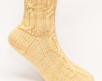 Wool Cable Socks, Ankle Length