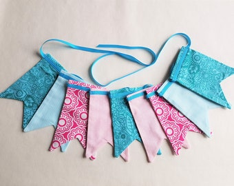 """MINI Fabric Bunting - 1.38 m/54"""" with 9 Double Dovetail Flags Pastel Pink Bright Pink Teal Blue Ribbon Nursery Decor Baby Shower Home Decor"""