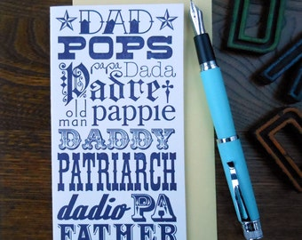 letterpress any way you say it, its your day! happy father's day! greeting card dad pops papa dada padre pa pappy patriarch daddy father