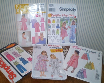 5 children's patterns- toddler and little girls sewing patterns- PJs, romper dress, sundress, nightgown, robe- sizes 2-5 and girls 3-8