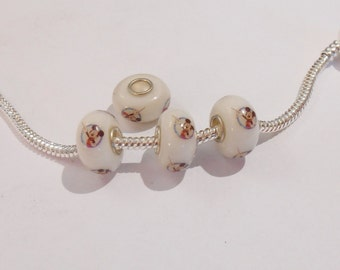 Mickey Mouse Lampwork Glass Bead - Fits Euro