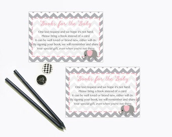 Baby Shower Bring a Book Instead of a Card Insert, Book Request, Pink and Grey Gray Elephant Book Insert Instant Download Printable