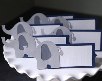 Elephant Place Cards, Elephant Food Labels, Elephant Seating Cards, Elephant Baby Shower, Elephant Food Labels, 12 Pcs, Navy Blue