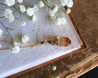 Natural Citrine Drop Pendant on 14k Gold Filled Satallite Chain