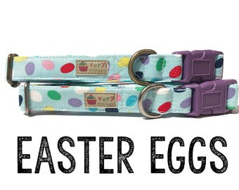 "Fun Light Blue Colorful Easter Eggs Dog Collar - Organic Cotton - Antique Metal Hardware - ""Easter Eggs"""