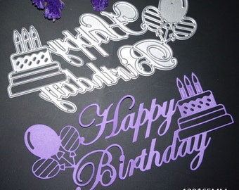 happy birthday balloons cake letter card decor metal cutting dies scrapbooking new 2018 die cut stamps