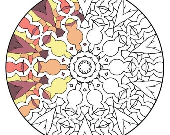 Mandala Coloring Pages - The Fidalgo - Mandala Coloring Page Printable, Adult Coloring, Digital Coloring, Mandala Art