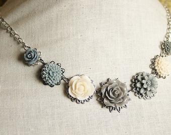 Handmade Flower Bib Necklace Grey Rose Necklace Grey Flower Necklace Grey Necklace Grey Bridesmaids Grey Wedding Resin Flower Jewelry