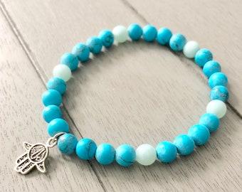 Turquoise and Amazonite Stretch Bracelet/Turquoise/Amazonite/Yoga Bracelet/Mala/Meditation Bracelet/Blue Bracelet/Hamsa/Stackable Bracelet
