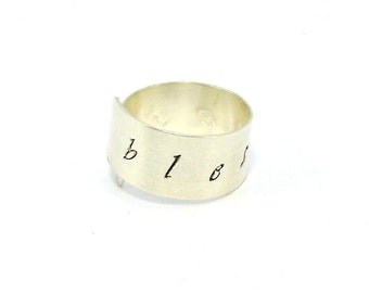 Custom Stamped Ring, Personalized Ring, Sterling Silver Wrap Ring