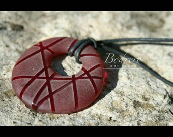 Red Pebble Pendant Necklace