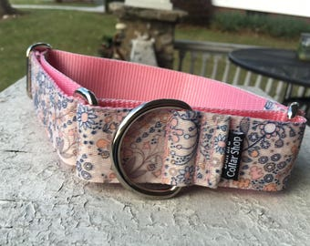 """Spring Vines on Pink -  1.5"""" Martingale Collar"""