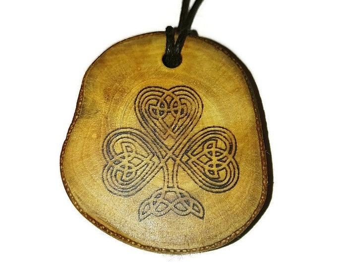 Bespoke Irish Lucky Four Leaf Clover Necklace Wood Pendant Rustic Unique Wooden Charm Choker Jewellery Keyring Scented Gift