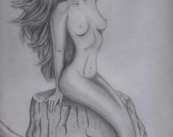 Sunkissed, Mermaid Pencil Drawing