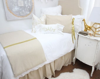 Metallic Gold Speck Dorm Bed Skirt & Headboard Bundle