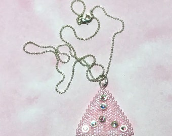 Pink Peyote Pendant Pink Beaded Triangle Beadwoven Pendant Peyote Bead Pendant Beadwork Pendant Pink Delica Pendant Seed Bead Pendant