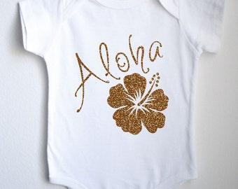 Aloha Hawaiian Hibiscus Baby 1sie One-piece Bodysuit
