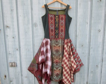 OOAK Tribal Reconstructed Bohemian Folk Denim Blue Jean Dress// Altered Clothing// Medium// Shabby Chic// Multi Colored// emmevielle