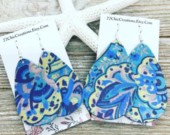 Floral print leather earrings perfect for Easter.