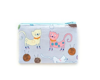 Coin Pouch Purse, Small Change Purse, Purse Pouch Cat, Cat Lover Gift for Her, Chapstick Holder, Zipper Coin Purse Fabric, Coin Pouch Wallet