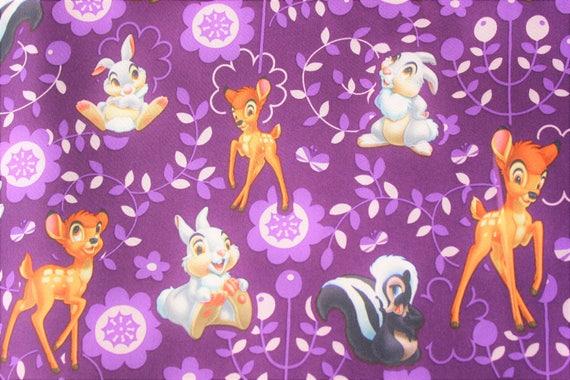 Disney Bambi Fabric Sateen Satin Purple Wide Cover Sheet Pajamas Gown Half Metre From