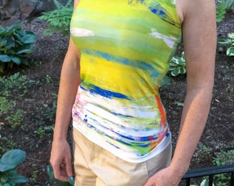 Abstract workout tank top in yellow, green, and blue - fitted top with long torso