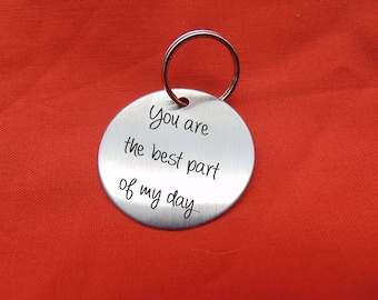 """Your Handwriting on Keychain- Handwritten Great Gift Brushed Stainless Steel- 1.5"""" Round Stainless Steel Key Chain Custom"""