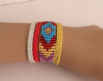 Bracelet, cuff, weaving, handmade, little girl.