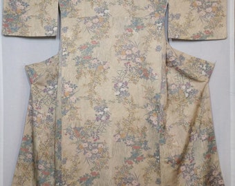 Women's unused, vintage, silk awase kimono - golden hued floral