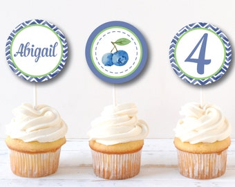 Blueberry Party Cupcake Toppers - Cupcake Topper/Wrapper Set - Blueberry Birthday - Party Circles - DIGITAL DESIGN
