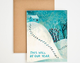Happy New Year Card, This Will Be Our Year, Winter Onederland, Woods Wall Art, Relationship Gift, Encouragement Cards, Love, Meera Lee Patel