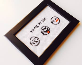 Your My Boo | Super Mario | Nintendo | Boo | Cute | Anniversary | Gift | Framed | Cross Stitch | Completed | Home